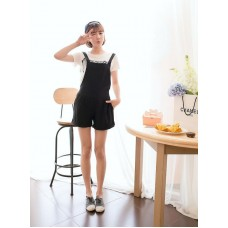 斑馬T恤+背帶短褲套裝 J-12198