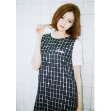 韓系格子背心短裙 J-11949