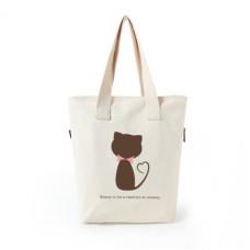 品名: 潮牌大容量帆布袋手提包袋單肩包手提袋拉鍊袋環保袋(咖啡貓) J-13911 全新 G-1592