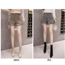 品名: 秋款復古高腰格子短褲毛呢闊腿褲打底褲靴褲(咖啡色) J-14090 全新 G-2036