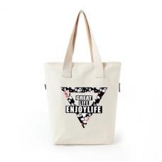 品名: 潮牌大容量帆布袋手提包袋單肩包手提袋拉鍊袋環保袋(三角形白色) J-13928 全新 G-1311