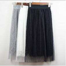 品名: 修身蕾絲長裙網紗百褶中長款半身裙(白色) J-13329 七成新 G-1335